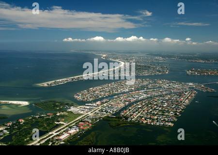 Aerial view of Saint Petersburg, Florida, Pass-a-Grille, Pine key, Mud key, Long key, cabbage key, pardee key, little - Stock Photo