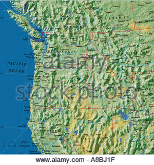 Map Maps USA California Oregon Washington State Stock Photo - Map of washington coast