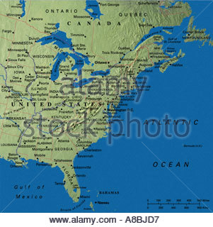 map maps USA Middle West East Coast New England States Florida