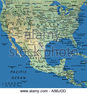 map maps USA Florida Canada Mexico Caribbean Cuba South America