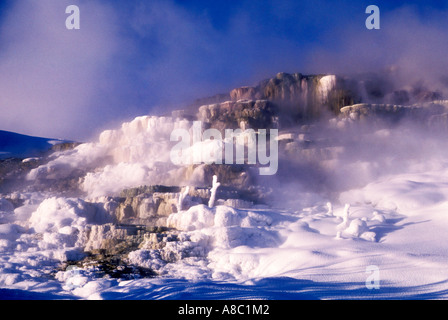 Wyoming Yellowstone National Park Mammoth Hot Springs terracs in winter - Stock Photo