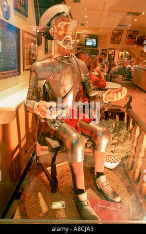 Figure of Don Quixote inside of the Pub Cervezaria La Campana Gorda Toledo Castilla La Mancha Spain Europe - Stock Photo