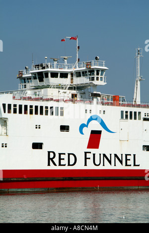 Red Funnel ferry company ship logo sign Southampton to Cowes service - Stock Photo