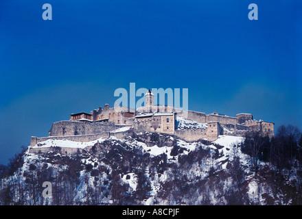 Burg Landskron -  Remains of Landskron Castle on the top of a 676 m high hill, Villach, Kärnten  Austria - Stock Photo