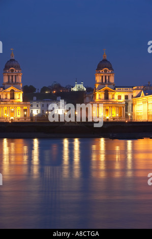 the River Thames the Old Royal Naval College the Queens House of the National Maritime Museum and Royal Observatory - Stock Photo