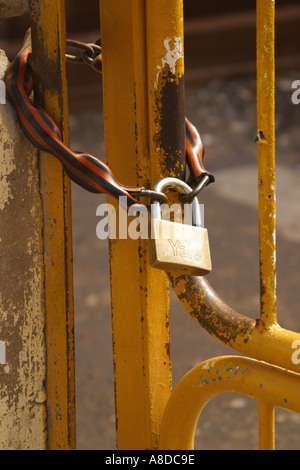 Chained and locked door - Stock Photo