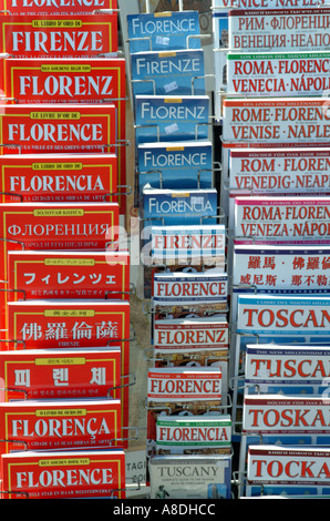 guide books in various languages on sale Florence Tuscany Italy EU - Stock Photo