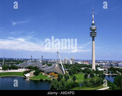 Olympic Park and Television Tower, Munich, Bavaria, Germany - Stock Photo