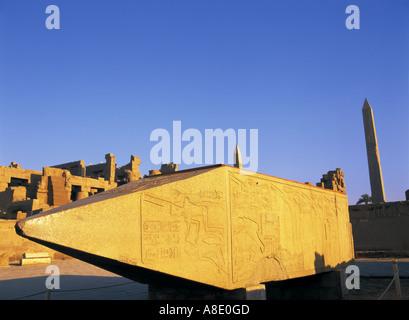 Obelisk of Hatshepsut, Karnak, Temple, Luxor, Egypt - Stock Photo