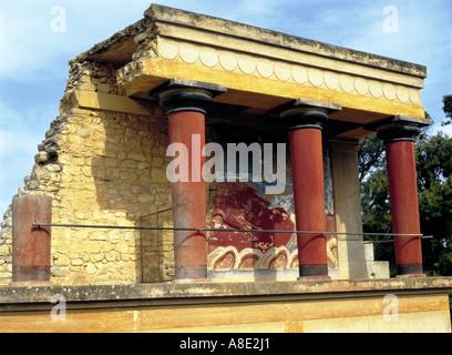 Knossos Minoan Palace, Heraklion, Crete, Greece - Stock Photo