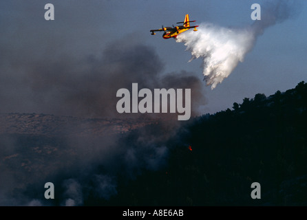 Aerial view of a Canadair firefighting water bomber airplane dousing water over a wildfire, forest fire smoke, sunset, - Stock Photo