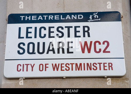 Leicester Square street sign WC2 city of westminster Theatreland - Stock Photo