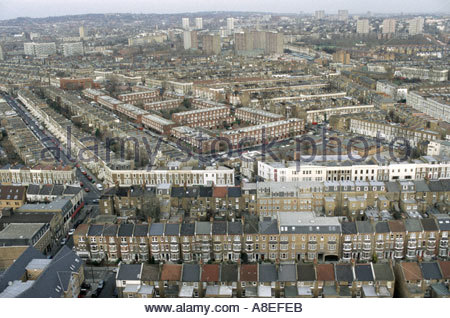 View from Trellick Tower in North Kensington of Victorian terrace housing and modernist estates in north west London - Stock Photo