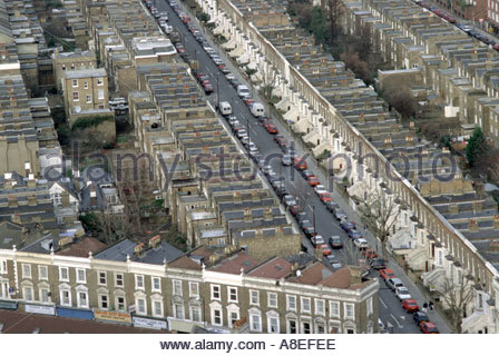 View from Trellick Tower in North Kensington of Victorian terrace housing in north west London - Stock Photo