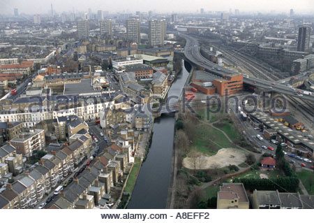 View from Trellick Tower in North Kensington of Victorian terrace housing Grand Union canal Westway motorway and - Stock Photo