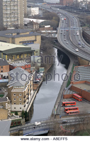 View from Trellick Tower in North Kensington of Grand Union canal and Westway flyover - Stock Photo