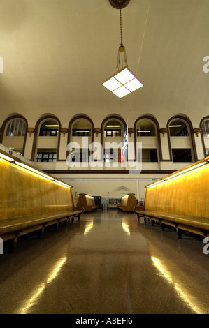 wide angle shot of seating area at Amtrak's Union Station in Denver Colorado. - Stock Photo
