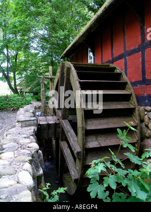Old water mill Hjerl Hede open air museum Sevel jutland Denmark - Stock Photo