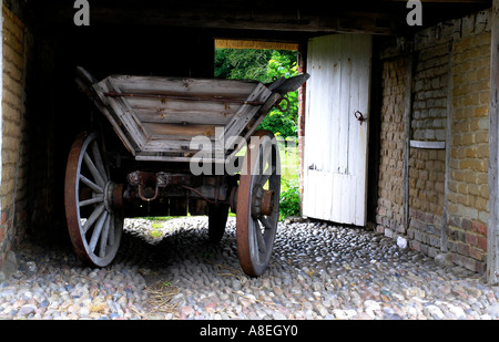 old farm carriage Hjerl Hede open air museum Sevel jutland Denmark - Stock Photo