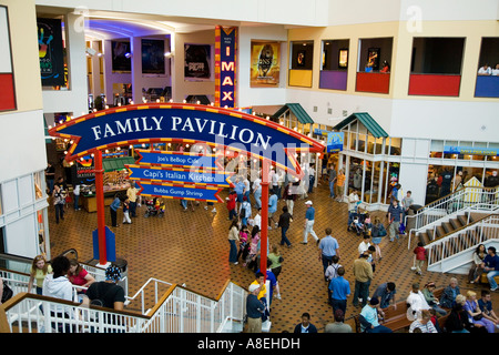 CHICAGO Illinois People indoors at Family Pavilion at Navy Pier shops and businesses inside - Stock Photo