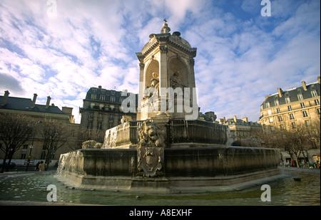 18th Century Fontaine des Quatre Points Cardinaux 'Place St Sulpice' Paris France - Stock Photo