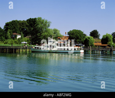 geography / travel, Germany, Bavaria, Frauenchiemsee, harbours, passenger ship at the landing stage of the Fraueninsel, - Stock Photo