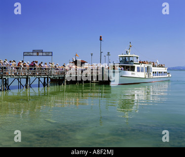 geography / travel, Germany, Bavaria, Frauenchiemsee, harbours, passenger ship 'Berta' at the landing stage of the - Stock Photo