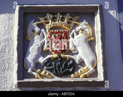 dh  WHITHORN DUMFRIES Town coat of arms on white wash house building