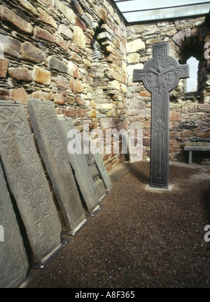 dh  KILMORY ARGYLL Sculptured gravestones carved stone grave slabs - Stock Photo