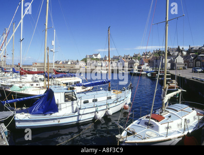 dh  FINDOCHTY MORAY Yachts in harbour church and fishing village scotland
