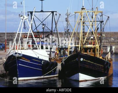 dh  BUCKIE MORAY Fishing boats in harbour scotland alongside fish boat industry uk fishery
