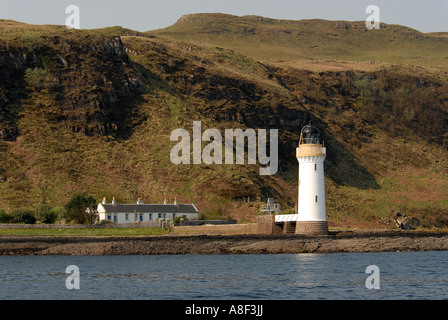 Rubha nan Gall lighthouse near Tobermory on the isle of Mull in Scotland, Britain - Stock Photo