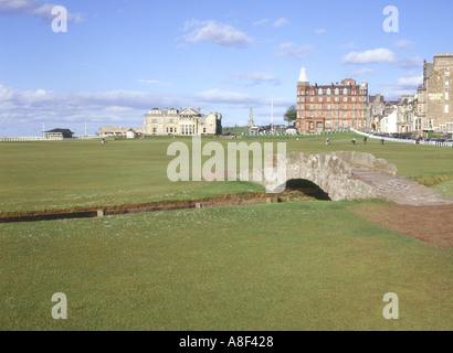 dh Golf ST ANDREWS FIFE Eighteenth fairway Royal Ancient 18th scotland bridge 18 old links course
