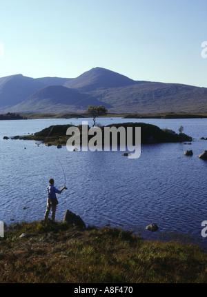 dh Lochan na h Achlaise RANNOCH MOOR ARGYLL Angler casting fishing line freshwater lake scotland lochs highlands man