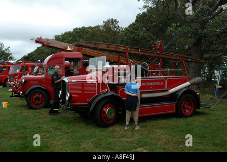 A small fleet of vintage fire engines on display at a show, England - Stock Photo
