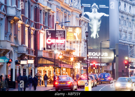 West End theatres on Shaftesbury Avenue at night London England UK - Stock Photo