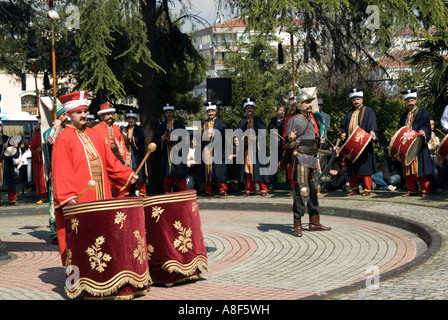 Daily concert performance of the Janissary Band in the Military Museum Istanbul Turkey - Stock Photo