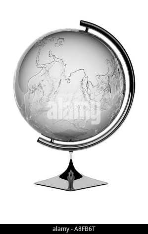 Silver Globe showing Asia and Indian sub continent - Stock Photo