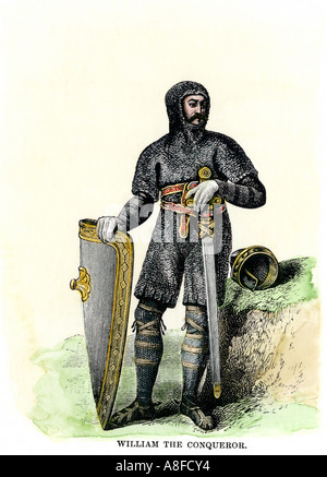 William the Conqueror in his suit of mail. Hand-colored woodcut - Stock Photo
