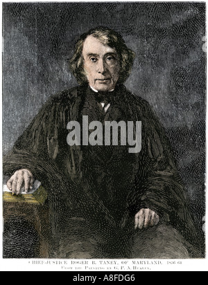 Roger B Taney Chief Justice of the US Supreme Court. Hand-colored woodcut - Stock Photo