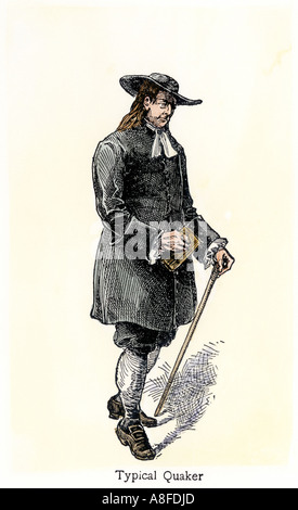 Typical Quaker in early Pennsylvania. Hand-colored woodcut - Stock Photo
