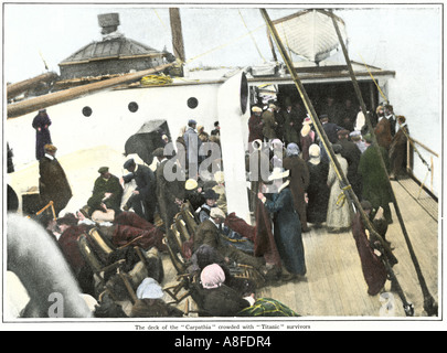 Titanic survivors on the deck of the steamer Carpathia 1912. Hand-colored halftone of a photograph - Stock Photo