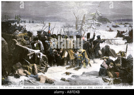 Marshal Ney bringing Napoleon's French rear guard out of Russia with heavy losses 1812. Hand-colored halftone