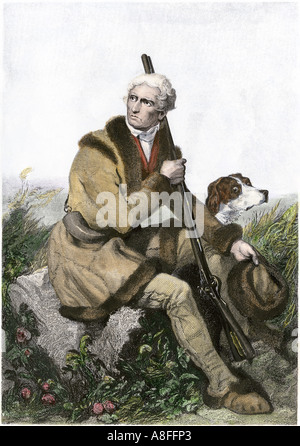 Daniel Boone pioneer of Kentucky with his rifle and dog. Hand-colored steel engraving - Stock Photo