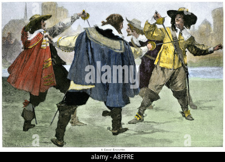 Three Musketeers in a sword fight with an opponent in the Alexandre Dumas novel. Hand-colored woodcut - Stock Photo