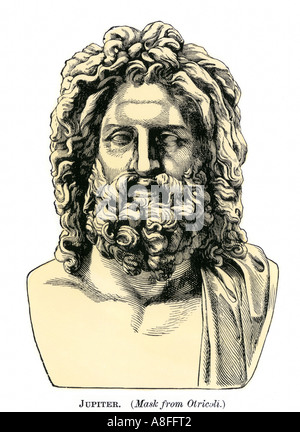 Roman Jupiter or Zeus in Greek mythology classical god of the sky and of laws. Hand-colored woodcut - Stock Photo