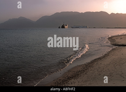 The ferry to Aqaba Jordan leaves twice daily from Nuweiba Red Sea coast at Nuweiba north of Sharm El Sheik Egypt - Stock Photo