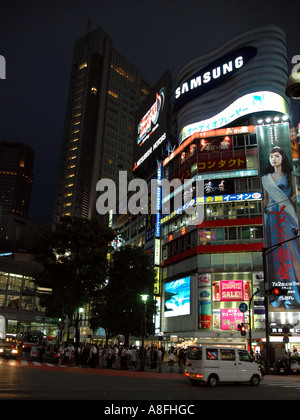 Neon Lights on Electronic Billboards in Shibuya - Stock Photo