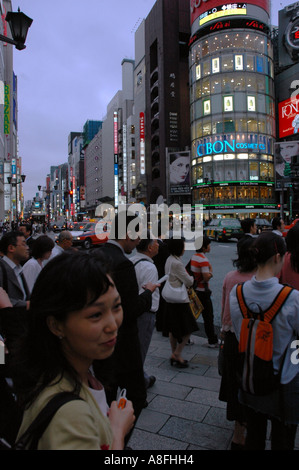 People on Ginza Shopping District in Tokyo Japan - Stock Photo