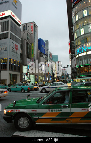 Taxi Cab on Ginza Street in Tokyo Japan - Stock Photo
